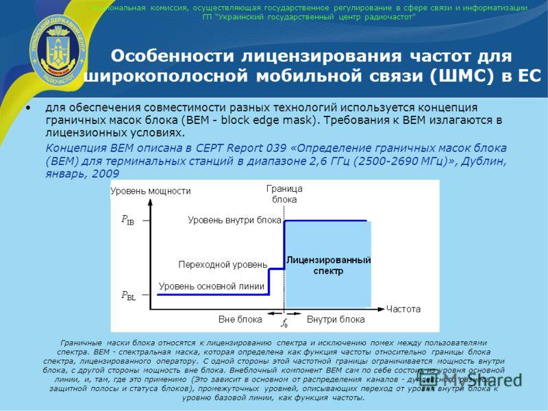 Национальная комиссия, осуществляющая государственное регулирование в сфере связи и информатизации ГП Украинский государственный центр радиочастот Особенности лицензирования частот для широкополосной мобильной связи (ШМС) в ЕС для обеспечения совмест