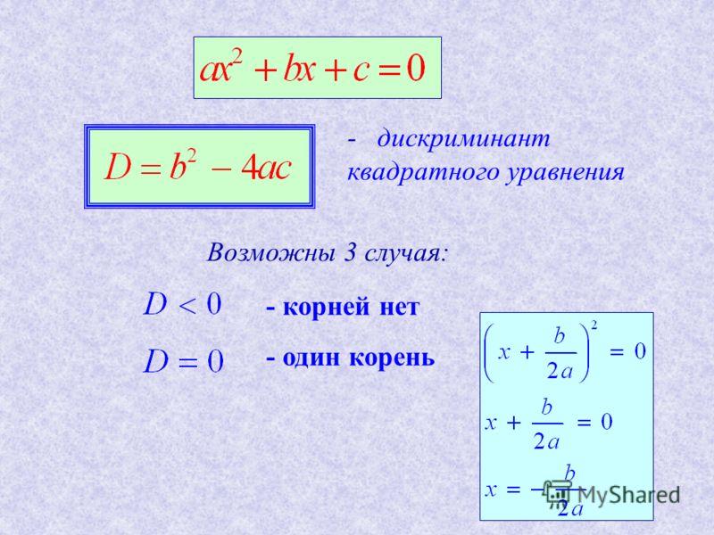 - дискриминант квадратного уравнения Возможны 3 случая: - корней нет - один корень