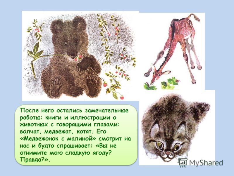 После него остались замечательные работы: книги и иллюстрации о животных с говорящими глазами: волчат, медвежат, котят. Его «Медвежонок с малиной» смотрит на нас и будто спрашивает: «Вы не отнимите мою сладкую ягоду? Правда?».