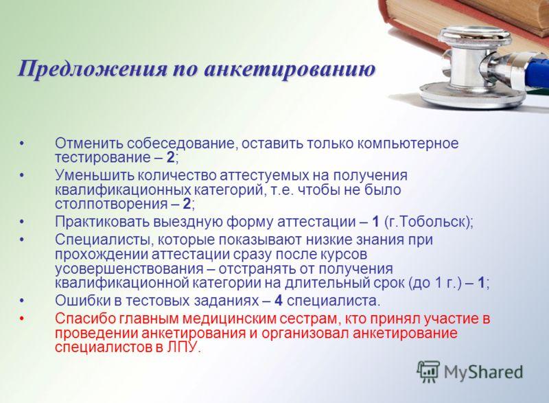 Предложения по анкетированию Отменить собеседование, оставить только компьютерное тестирование – 2; Уменьшить количество аттестуемых на получения квалификационных категорий, т.е. чтобы не было столпотворения – 2; Практиковать выездную форму аттестаци