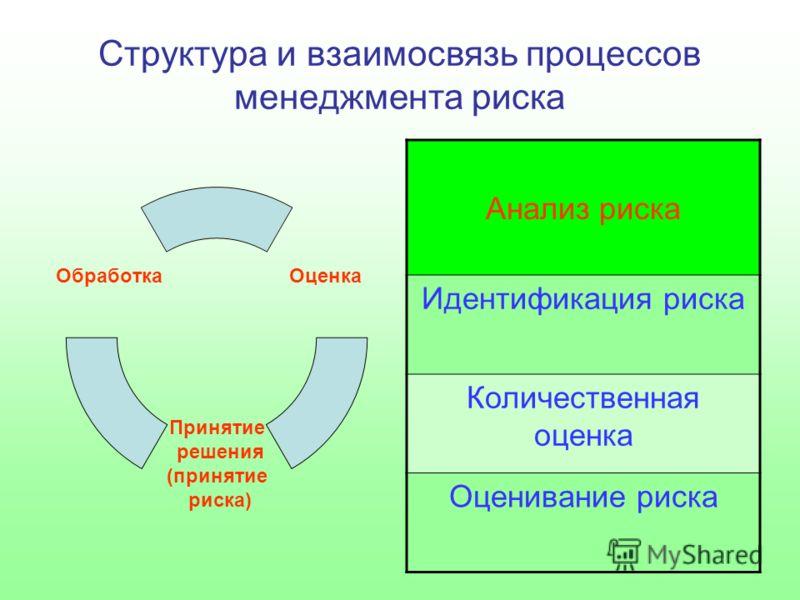 Структура и взаимосвязь процессов менеджмента риска Оценка Принятие решения (принятие риска) Обработка Анализ риска Идентификация риска Количественная оценка Оценивание риска
