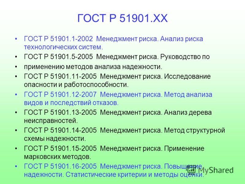 ГОСТ Р 51901.ХХ ГОСТ Р 51901.1-2002 Менеджмент риска. Анализ риска технологических систем. ГОСТ Р 51901.5-2005 Менеджмент риска. Руководство по применению методов анализа надежности. ГОСТ Р 51901.11-2005 Менеджмент риска. Исследование опасности и раб