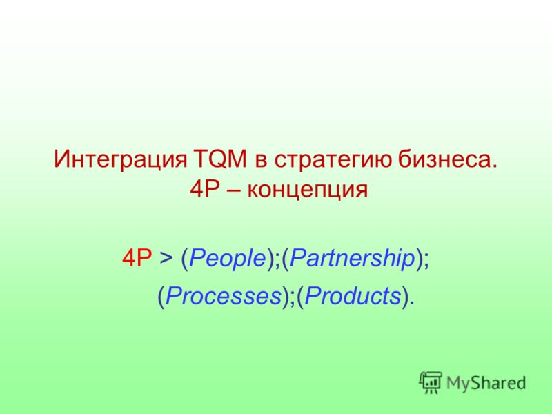 Интеграция TQM в стратегию бизнеса. 4Р – концепция 4Р > (People);(Partnership); (Processes);(Products).