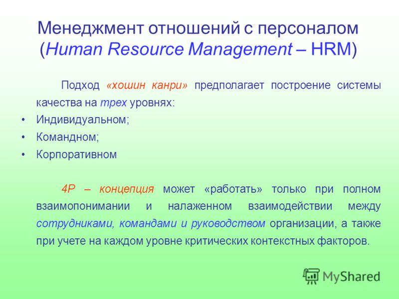 Менеджмент отношений с персоналом (Human Resource Management – HRM) Подход «хошин канри» предполагает построение системы качества на трех уровнях: Индивидуальном; Командном; Корпоративном 4Р – концепция может «работать» только при полном взаимопонима