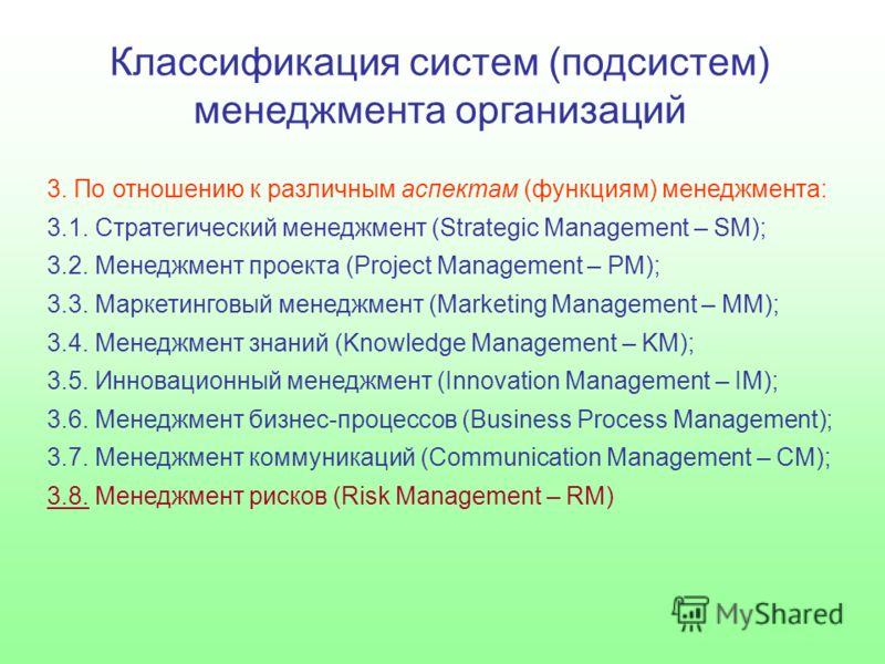 Классификация систем (подсистем) менеджмента организаций 3. По отношению к различным аспектам (функциям) менеджмента: 3.1. Стратегический менеджмент (Strategic Management – SM); 3.2. Менеджмент проекта (Project Management – PM); 3.3. Маркетинговый ме
