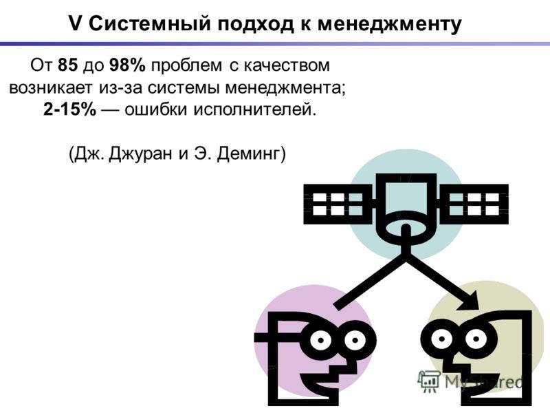 V Системный подход к менеджменту От 85 до 98% проблем с качеством возникает из-за системы менеджмента; 2-15% ошибки исполнителей. (Дж. Джуран и Э. Деминг)