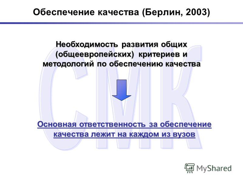 Обеспечение качества (Берлин, 2003) Необходимость развития общих (общеевропейских) критериев и методологий по обеспечению качества Основная ответственность за обеспечение качества лежит на каждом из вузов