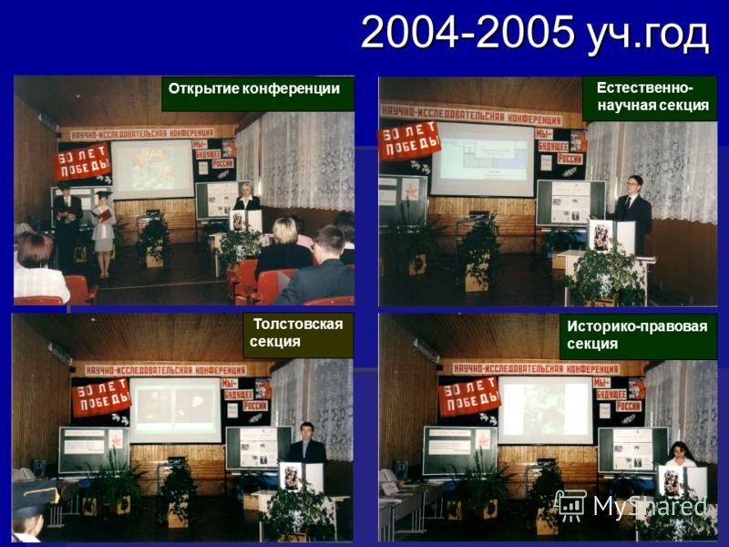 2004-2005 уч.год Естественно- научная секция Толстовская секция Историко-правовая секция Открытие конференции