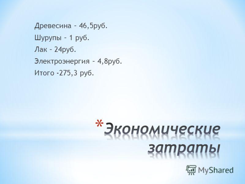 Древесина – 46,5руб. Шурупы – 1 руб. Лак – 24руб. Электроэнергия – 4,8руб. Итого -275,3 руб.