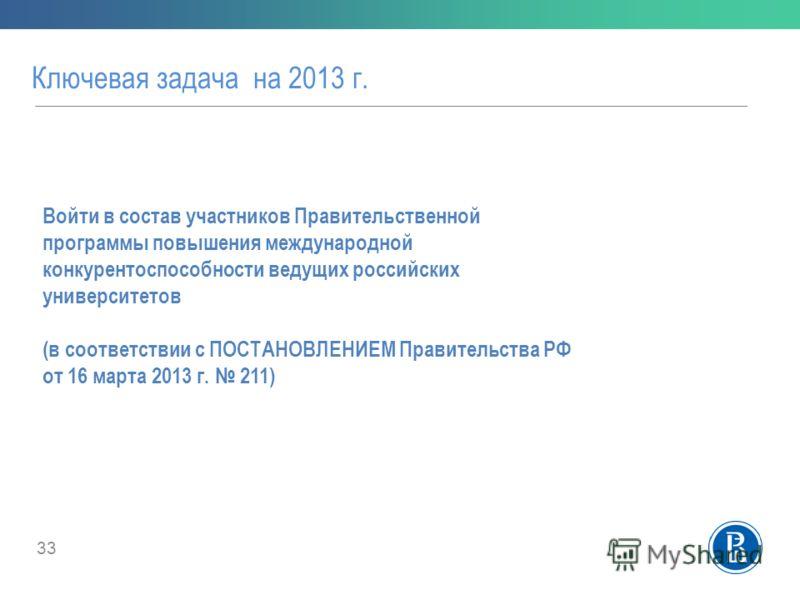 Ключевая задача на 2013 г. 33 Войти в состав участников Правительственной программы повышения международной конкурентоспособности ведущих российских университетов (в соответствии с ПОСТАНОВЛЕНИЕМ Правительства РФ от 16 марта 2013 г. 211)