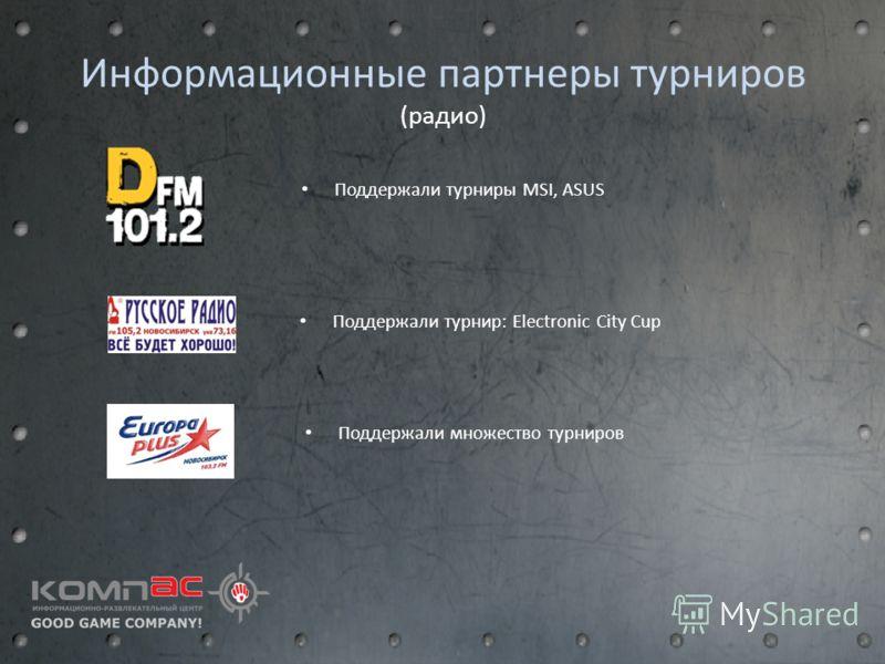 Информационные партнеры турниров (радио) Поддержали турниры MSI, ASUS Поддержали турнир: Electronic City Cup Поддержали множество турниров