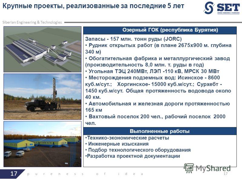 17 Крупные проекты, реализованные за последние 5 лет Siberian Engineering & Technologies Озерный ГОК (республика Бурятия) Запасы - 157 млн. тонн руды (JORC) Рудник открытых работ (в плане 2675x900 м. глубина 340 м) Обогатительная фабрика и металлурги