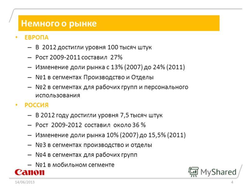 14/06/20134 Немного о рынке ЕВРОПА – В 2012 достигли уровня 100 тысяч штук – Рост 2009-2011 составил 27% – Изменение доли рынка с 13% (2007) до 24% (2011) – 1 в сегментах Производство и Отделы – 2 в сегментах для рабочих групп и персонального использ