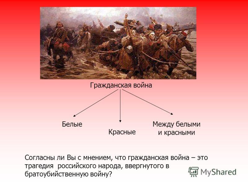 Гражданская война Белые Красные Между белыми и красными Согласны ли Вы с мнением, что гражданская война – это трагедия российского народа, ввергнутого в братоубийственную войну?