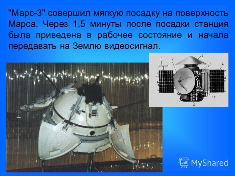 Марс-3 совершил мягкую посадку на поверхность Марса. Через 1,5 минуты после посадки станция была приведена в рабочее состояние и начала передавать на Землю видеосигнал.