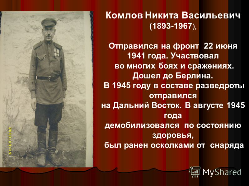 Комлов Никита Васильевич (1893-1967 ), Отправился на фронт 22 июня 1941 года. Участвовал во многих боях и сражениях. Дошел до Берлина. В 1945 году в составе разведроты отправился на Дальний Восток. В августе 1945 года демобилизовался по состоянию здо