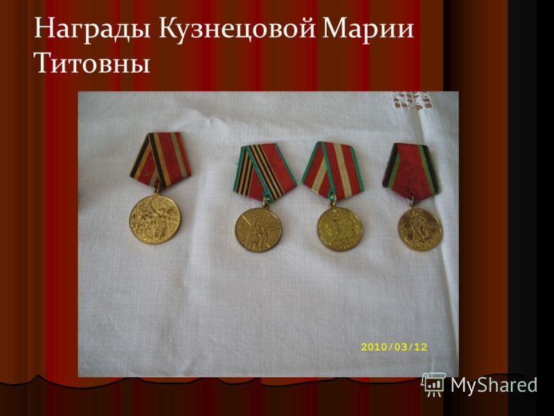 Награды Кузнецовой Марии Титовны