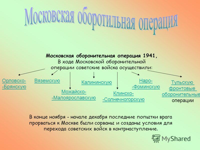 Московская оборонительная операция 1941, В ходе Московской оборонительной операции советские войска осуществили: В конце ноября - начале декабря последние попытки врага прорваться к Москве были сорваны и созданы условия для перехода советских войск в