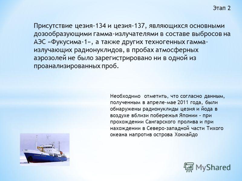 Присутствие цезия-134 и цезия-137, являющихся основными дозообразующими гамма-излучателями в составе выбросов на АЭС «Фукусима-1», а также других техногенных гамма- излучающих радионуклидов, в пробах атмосферных аэрозолей не было зарегистрировано ни