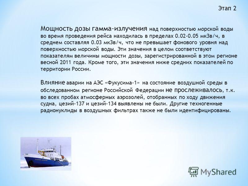 Мощность дозы гамма-излучения над поверхностью морской воды во время проведения рейса находилась в пределах 0.02-0.05 мкЗв/ч, в среднем составляя 0.03 мкЗв/ч, что не превышает фонового уровня над поверхностью морской воды. Эти значения в целом соотве