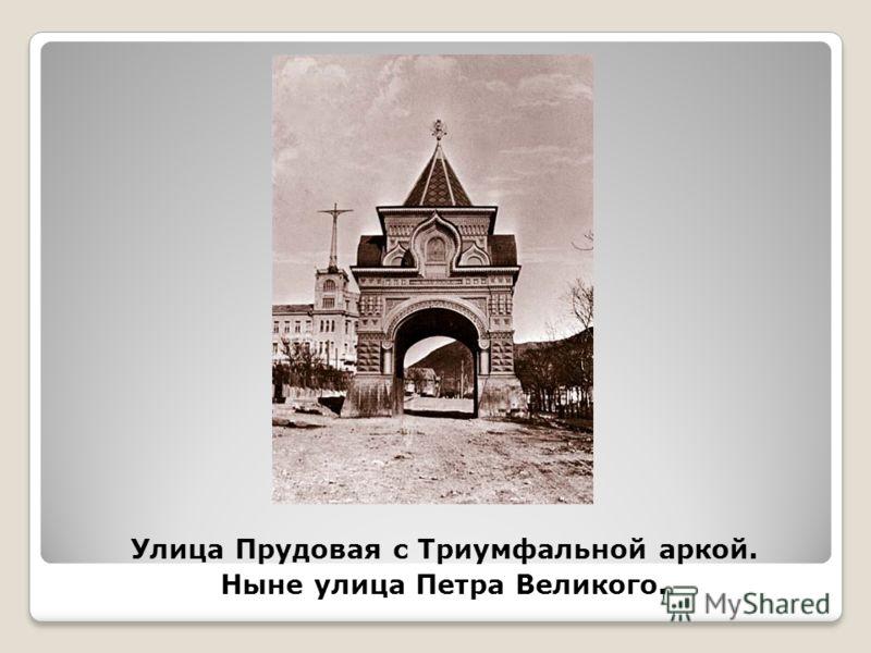 Улица Прудовая с Триумфальной аркой. Ныне улица Петра Великого.