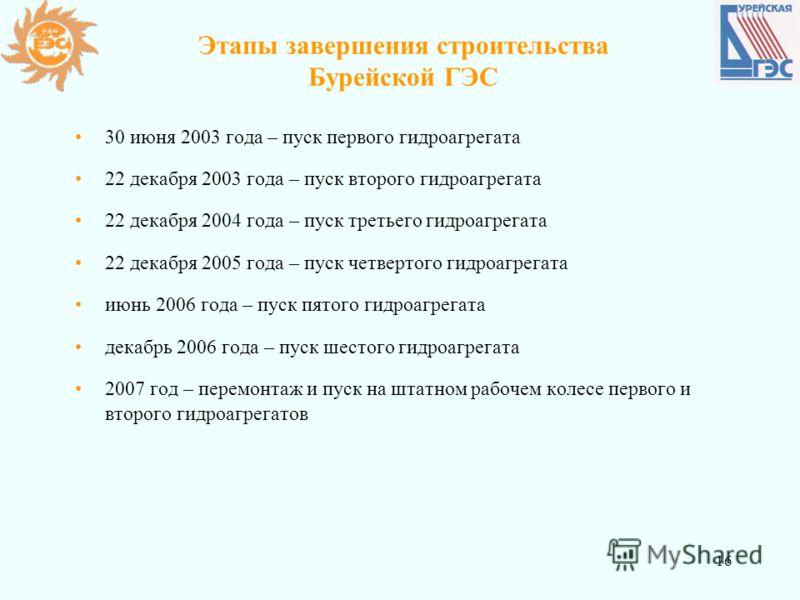 16 Этапы завершения строительства Бурейской ГЭС 30 июня 2003 года – пуск первого гидроагрегата 22 декабря 2003 года – пуск второго гидроагрегата 22 декабря 2004 года – пуск третьего гидроагрегата 22 декабря 2005 года – пуск четвертого гидроагрегата и