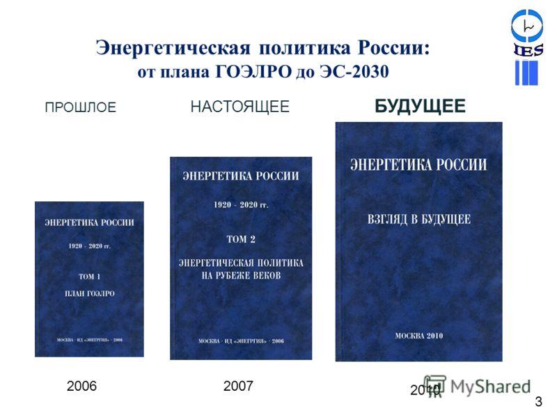 Энергетическая политика России: от плана ГОЭЛРО до ЭС-2030 20062007 2010 ПРОШЛОЕ НАСТОЯЩЕЕ БУДУЩЕЕ 3
