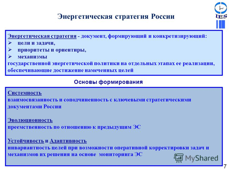 Энергетическая стратегия России Основы формирования Энергетическая стратегия - документ, формирующий и конкретизирующий: цели и задачи, приоритеты и ориентиры, механизмы государственной энергетической политики на отдельных этапах ее реализации, обесп