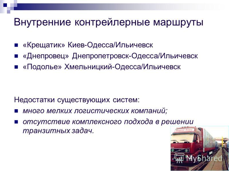 Внутренние контрейлерные маршруты «Крещатик» Киев-Одесса/Ильичевск «Днепровец» Днепропетровск-Одесса/Ильичевск «Подолье» Хмельницкий-Одесса/Ильичевск Недостатки существующих систем: много мелких логистических компаний; отсутствие комплексного подхода