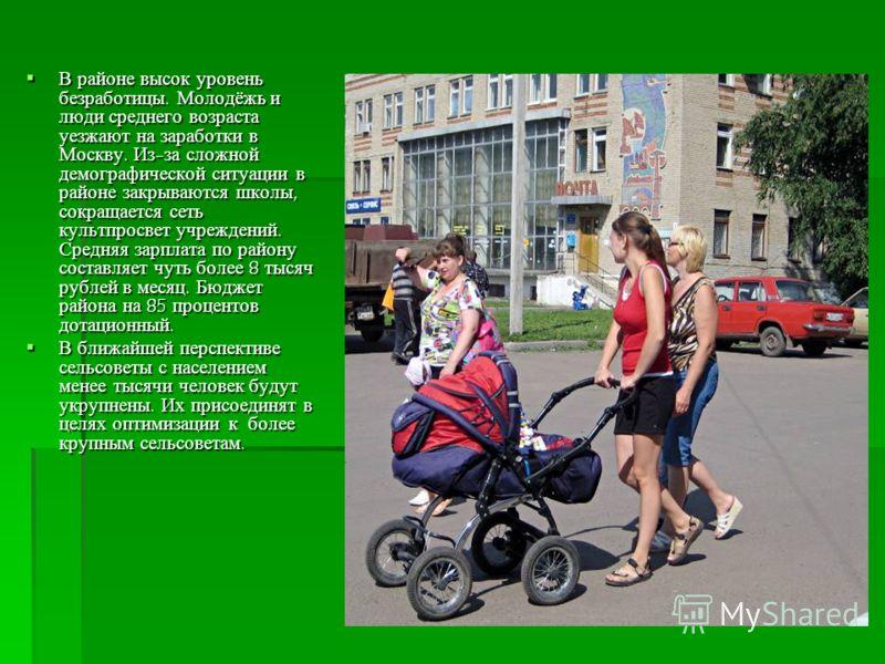 В районе высок уровень безработицы. Молодёжь и люди среднего возраста уезжают на заработки в Москву. Из-за сложной демографической ситуации в районе закрываются школы, сокращается сеть культпросвет учреждений. Средняя зарплата по району составляет чу