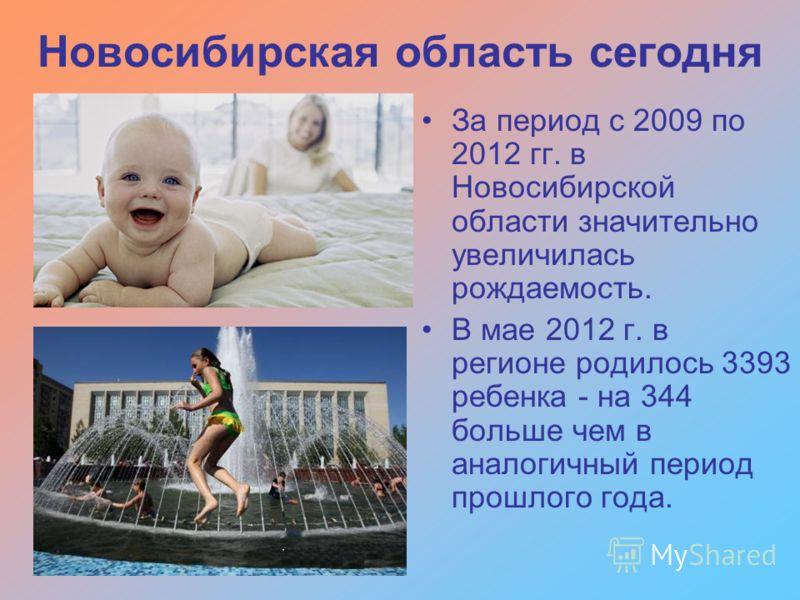 За период с 2009 по 2012 гг. в Новосибирской области значительно увеличилась рождаемость. В мае 2012 г. в регионе родилось 3393 ребенка - на 344 больше чем в аналогичный период прошлого года.