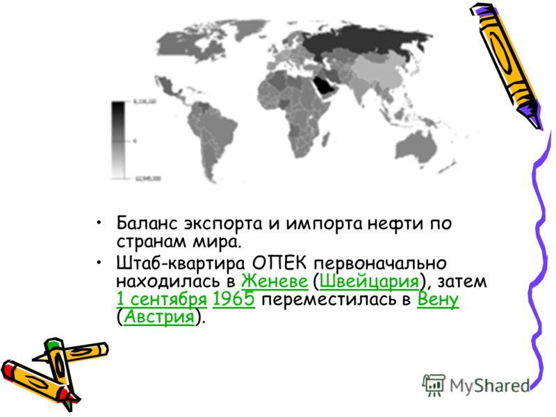 Баланс экспорта и импорта нефти по странам мира. Штаб-квартира ОПЕК первоначально находилась в Женеве (Швейцария), затем 1 сентября 1965 переместилась в Вену (Австрия).ЖеневеШвейцария 1 сентября1965ВенуАвстрия
