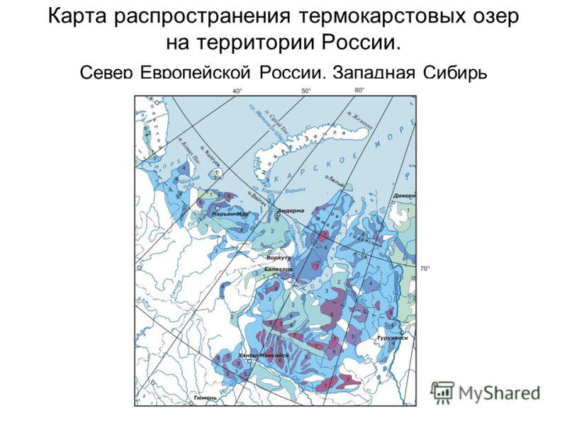 Карта распространения термокарстовых озер на территории России. Север Европейской России, Западная Сибирь