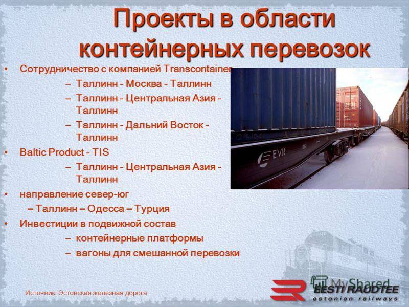 Источник: Эстонская железная дорога Проекты в области контейнерных перевозок Сотрудничество с компанией Transcontainer –Таллинн - Москва - Таллинн –Таллинн - Центральная Азия - Таллинн –Таллинн - Дальний Восток - Таллинн Baltic Product - TIS –Таллинн