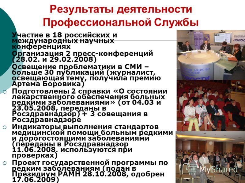 Результаты деятельности Профессиональной Службы Участие в 18 российских и международных научных конференциях Организация 2 пресс-конференций (28.02. и 29.02.2008) Освещение проблематики в СМИ – больше 30 публикаций (журналист, освещающая тему, получи