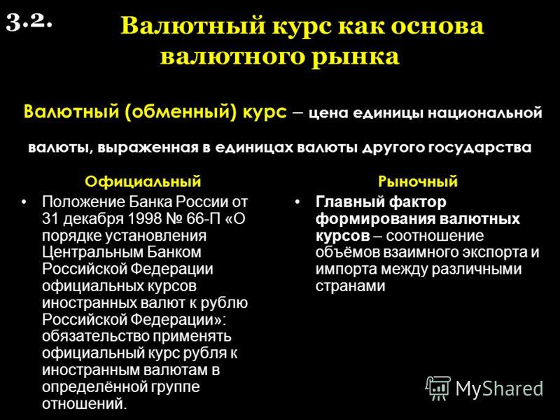 Валютный курс как основа валютного рынка Валютный (обменный) курс – цена единицы национальной валюты, выраженная в единицах валюты другого государства Официальный Положение Банка России от 31 декабря 1998 66-П «О порядке установления Центральным Банк