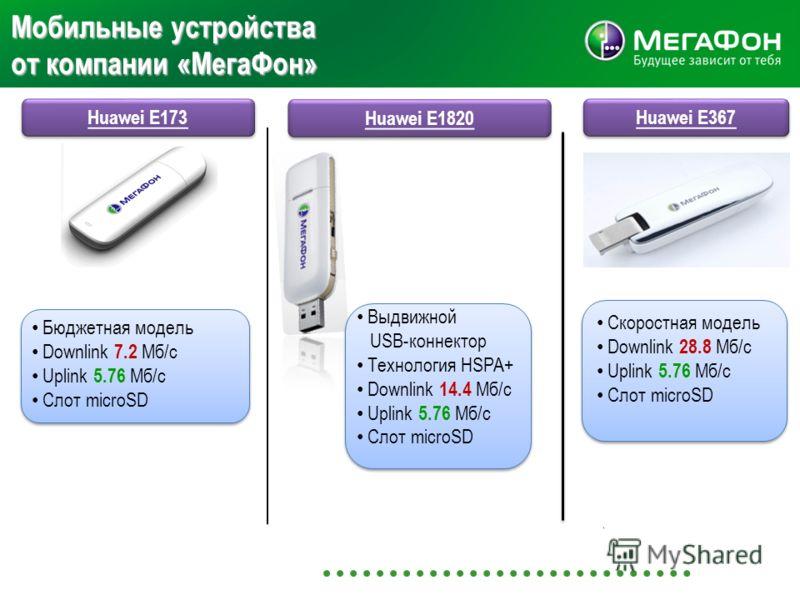 Мобильные устройства от компании «МегаФон» Huawei E173 Huawei E1820 Бюджетная модель Downlink 7.2 Мб/с Uplink 5.76 Мб/с Слот microSD Huawei Е367 Скоростная модель Downlink 28.8 Мб/с Uplink 5.76 Мб/с Слот microSD Скоростная модель Downlink 28.8 Мб/с U