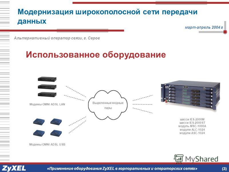 Использованное оборудование март-апрель 2004 г Альтернативный оператор связи, г. Серов (3) шасси IES-2000M шасси IES-2000ST модуль MSC-1000A модули ALC-1024 модули ASC-1024 Выделенные медные пары Модемы OMNI ADSL LAN Модемы OMNI ADSL USB «Применение