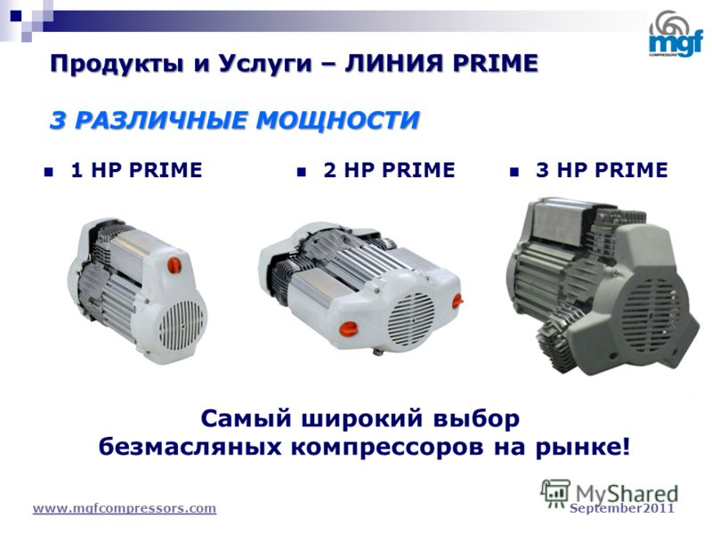 1 HP PRIME www.mgfcompressors.comwww.mgfcompressors.com September2011 2 HP PRIME 3 HP PRIME Самый широкий выбор безмасляных компрессоров на рынке! Продукты и Услуги – ЛИНИЯ PRIME 3 РАЗЛИЧНЫЕ МОЩНОСТИ