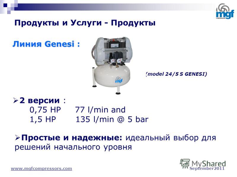 Продукты и Услуги - Продукты www.mgfcompressors.comwww.mgfcompressors.com September2011 Линия Genesi : 2 версии : 0,75 HP 77 l/min and 1,5 HP 135 l/min @ 5 bar Простые и надежные: идеальный выбор для решений начального уровня (model 24/5 S GENESI)