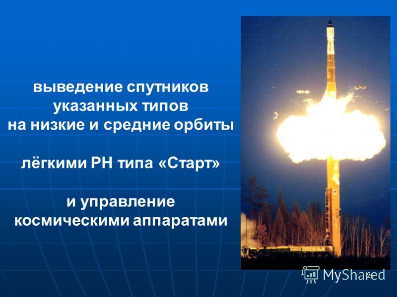 25 выведение спутников указанных типов на низкие и средние орбиты лёгкими РН типа «Старт» и управление космическими аппаратами