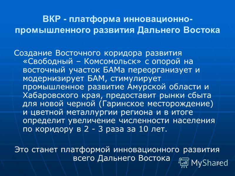 27 ВКР - платформа инновационно- промышленного развития Дальнего Востока Создание Восточного коридора развития «Свободный – Комсомольск» с опорой на восточный участок БАМа переорганизует и модернизирует БАМ, стимулирует промышленное развитие Амурской