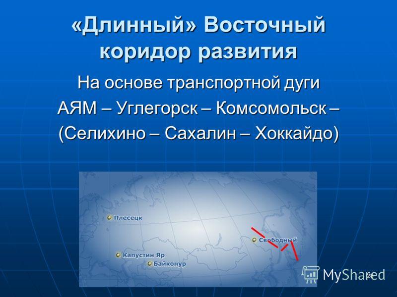 28 «Длинный» Восточный коридор развития На основе транспортной дуги АЯМ – Углегорск – Комсомольск – (Селихино – Сахалин – Хоккайдо)
