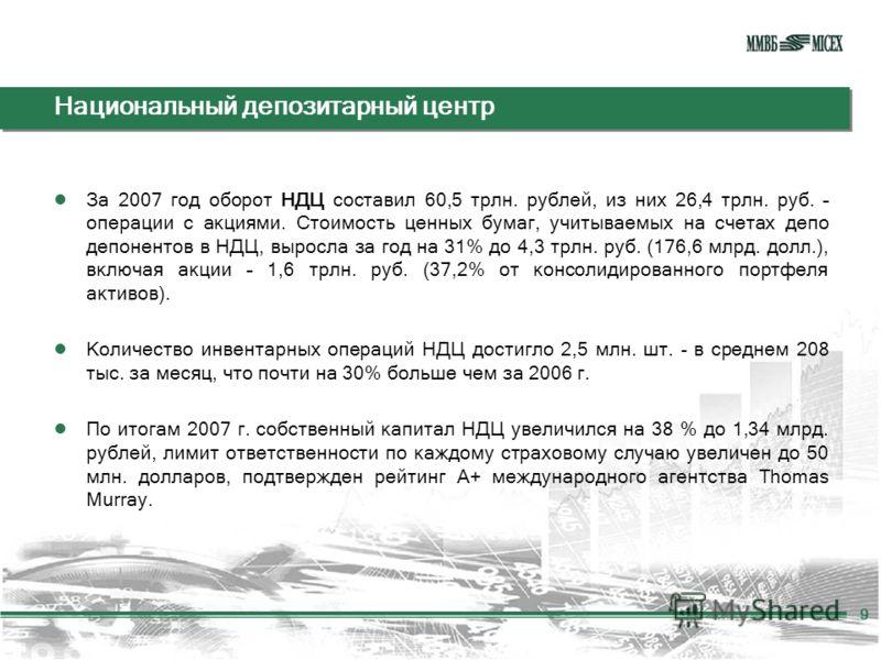 Национальный депозитарный центр За 2007 год оборот НДЦ составил 60,5 трлн. рублей, из них 26,4 трлн. руб. – операции с акциями. Стоимость ценных бумаг, учитываемых на счетах депо депонентов в НДЦ, выросла за год на 31% до 4,3 трлн. руб. (176,6 млрд.