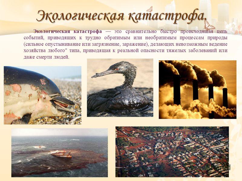 Экологическая катастрофа это сравнительно быстро происходящая цепь событий, приводящих к трудно обратимым или необратимым процессам природы ( сильное опустынивание или загрязнение, заражение ), делающих невозможным ведение хозяйства любого