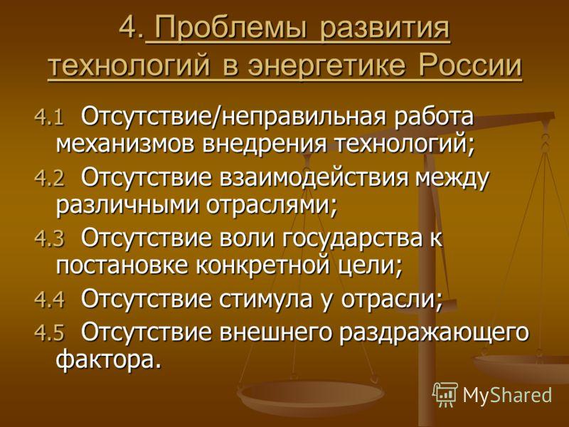 4. Проблемы развития технологий в энергетике России 4.1 Отсутствие/неправильная работа механизмов внедрения технологий; 4.2 Отсутствие взаимодействия между различными отраслями; 4.3 Отсутствие воли государства к постановке конкретной цели; 4.4 Отсутс