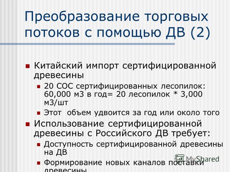 Преобразование торговых потоков с помощью ДВ (1) Китайский импорт бревен с ДВ 1998: 1.6 миллионов м 3 2000: свыше 6 миллионов м 3 Российская древесина Дешевая, стабильные и большие объемы древесины Низкая цена перевозки Китайские лесозаготовки на ДВ