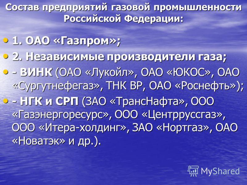 Состав предприятий газовой промышленности Российской Федерации: 1. ОАО «Газпром»; 1. ОАО «Газпром»; 2. Независимые производители газа; 2. Независимые производители газа; - ВИНК (ОАО «Лукойл», ОАО «ЮКОС», ОАО «Сургутнефегаз», ТНК ВР, ОАО «Роснефть»);