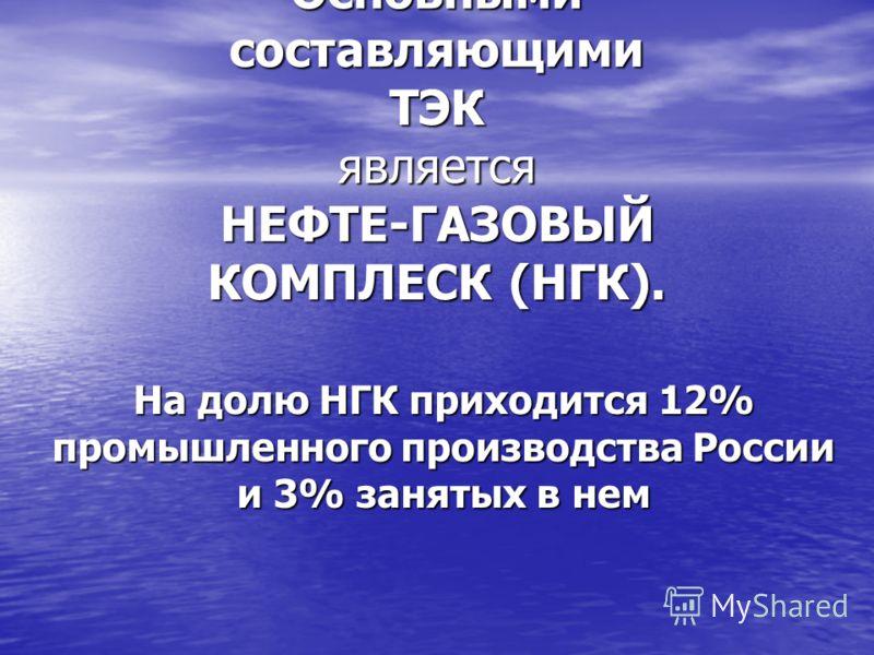 Основными составляющими ТЭК является НЕФТЕ-ГАЗОВЫЙ КОМПЛЕСК (НГК). На долю НГК приходится 12% промышленного производства России и 3% занятых в нем