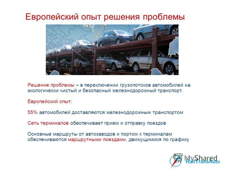 Европейский опыт решения проблемы Решение проблемы – в переключении грузопотоков автомобилей на экологически чистый и безопасный железнодорожный транспорт. Европейский опыт: 55% автомобилей доставляются железнодорожным транспортом Сеть терминалов обе